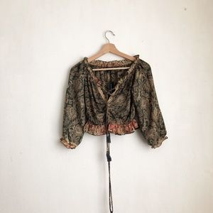 crop top blouse olive green  peplum small
